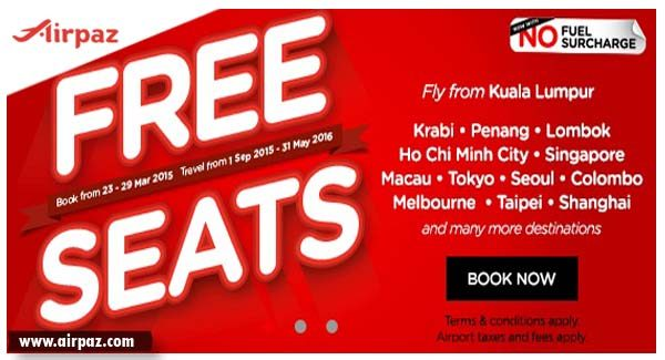 FREE SEATS AirAsia till 29 March 2015