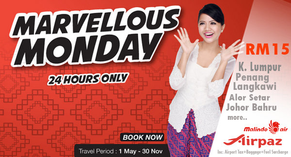 Promo Malindo Air RM 15 One Day Only