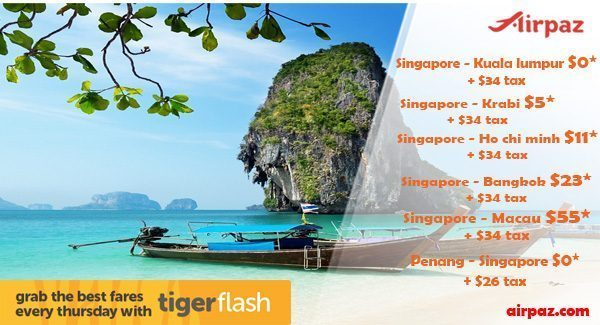 Promo Tiger Air Start From $0.00 on Airpaz