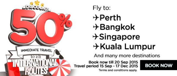 AirAsia 50 percent discount international flight