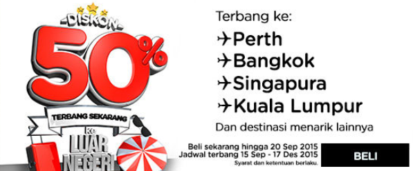 AirAsia 50 percent diskon penerbangan international