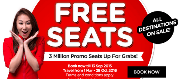 FREE SEATS AirAsia till 13 September 2015 on Airpaz