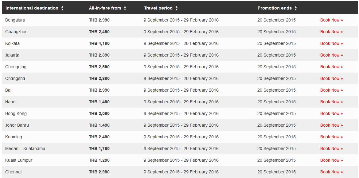 thailand school holiday fare list 2