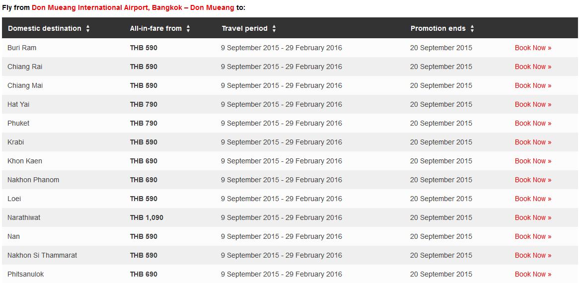 thailand school holiday fare list