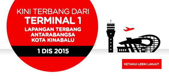 AirAsia Kini Terbang Dari Terminal 1 Lapangan Terbang Antar Bangsa Kota Kinabalu
