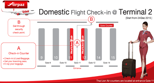Domestik Flight Thai Lion Air Move to Terminal 2 at Don Mueng Airport