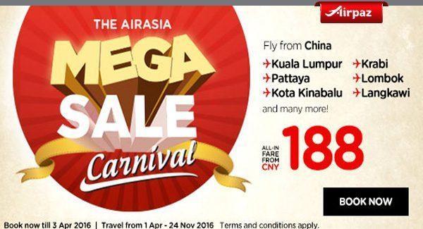 AirAsia China Mega Sale Carnival Airpaz Promo