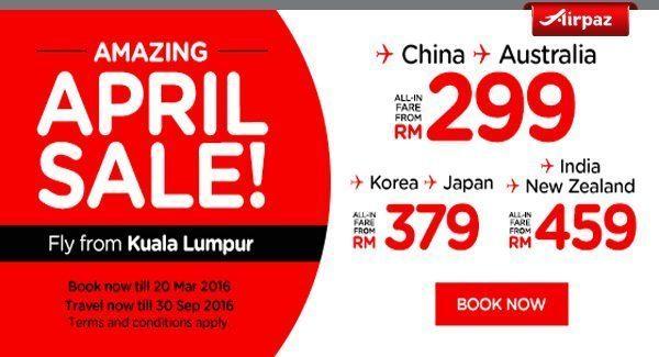 AirAsia Malaysia 14 March 2016 Airpaz Promo