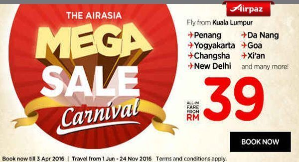 AirAsia Malaysia 28 March 2016 Airpaz Promo