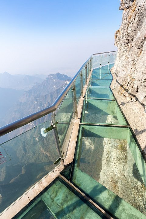 Glass sky walk at Tianmenshan Tianmen Mountain Zhangjiajie China
