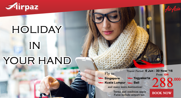 AirAsia Indonesia Holiday in your hand airpaz promo.