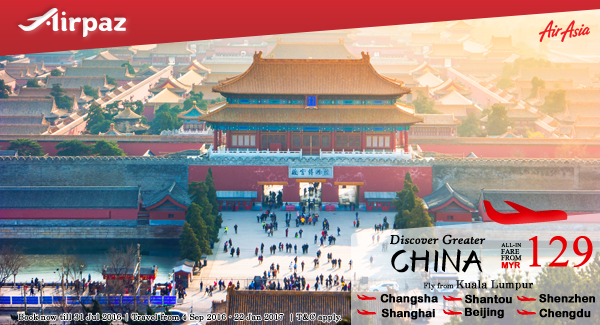 AirAsia Malaysia Discover Greater China Airpaz Promo