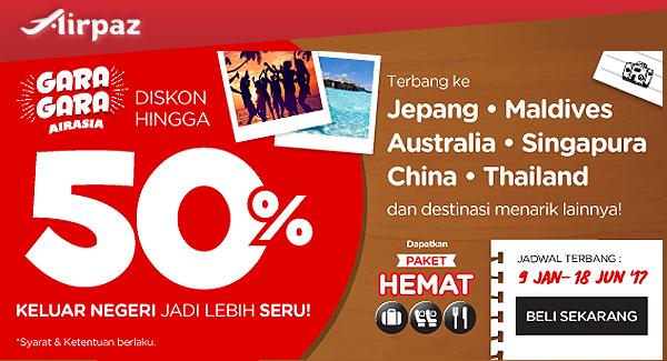 AirAsia Indonesia Promo diskon 50 persen di Airpaz