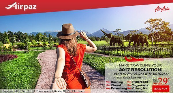 AirAsia Malaysia 2017 resolution promo on Airpaz
