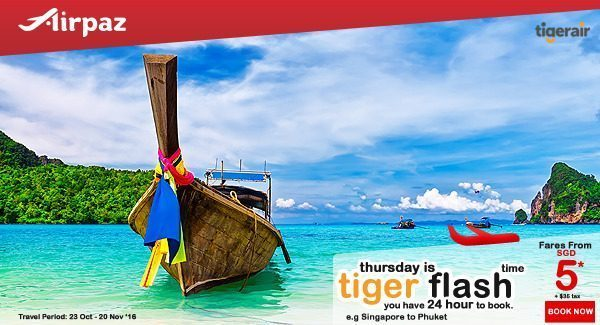 Tiger Air Promotion on Airpaz 6 Oct 2016