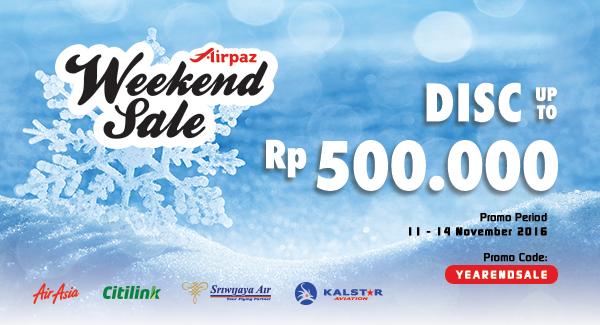 Promo Tiket Pesawat Weekend Sale 11 - 14 November 2016