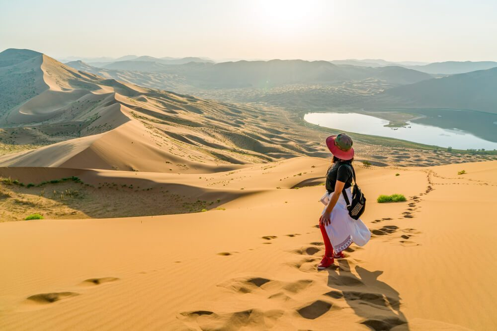 The beautiful view of Badain Jaran Desert in China