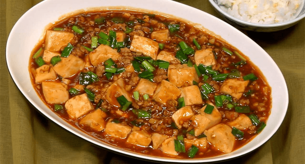The Chinese Mapo Tofu is known for its spiciness from Sichuan pepper