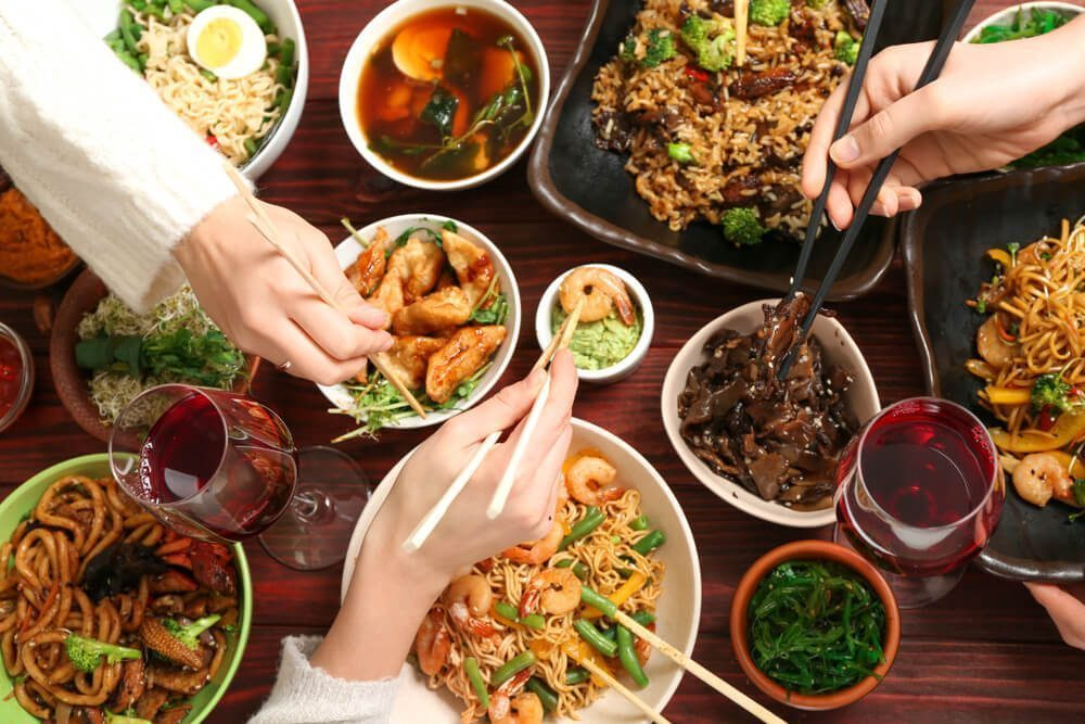 In Chinese culture, people eat together in a table and share dishes together