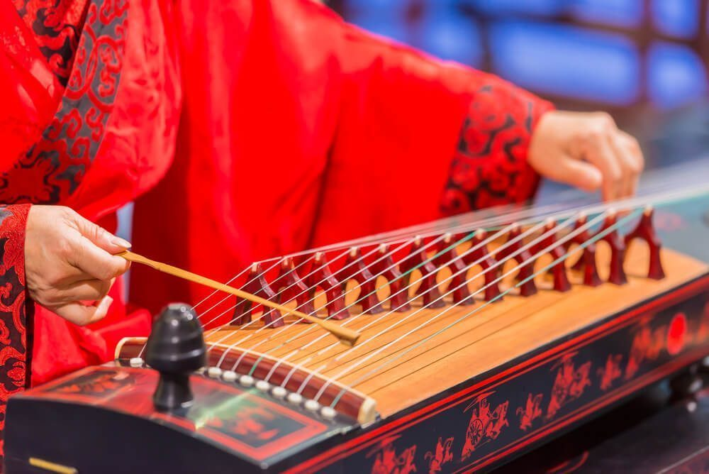 The zither, one of Chinese traditional string musical instruments