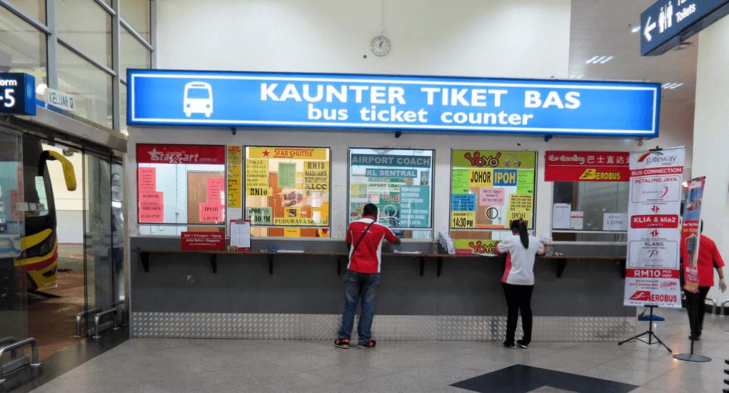KLIA 2 - Beli Tiket Bus di Loket yang Tersedia