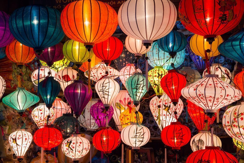 People display lanterns in various colors, shapes and sizes during the Chinese Lantern Festival