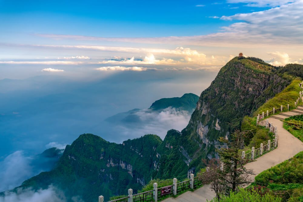 Revel in the panoramic view from the top of Mount Emei