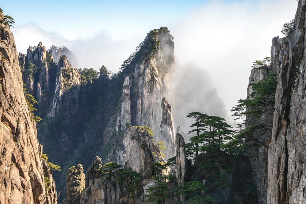 A large portion of China consists of mountains and hills