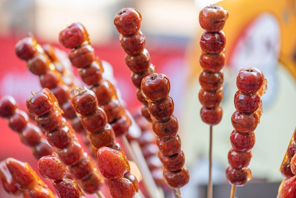 Tanghulu is China's famous sweet and sour snack made from candied fruits