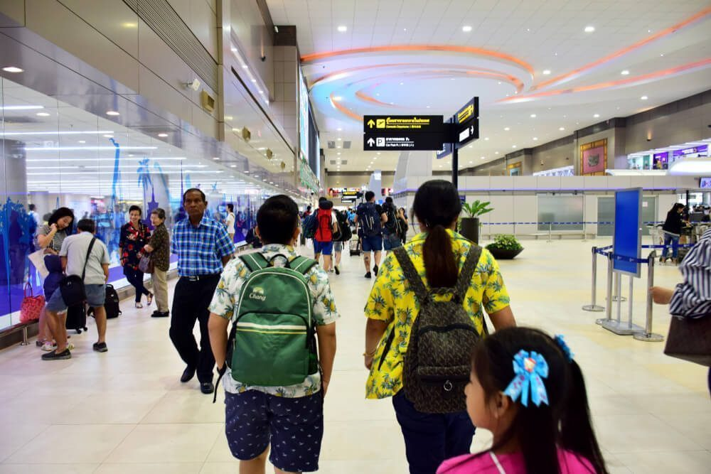 Travelers in Don Mueang Airport