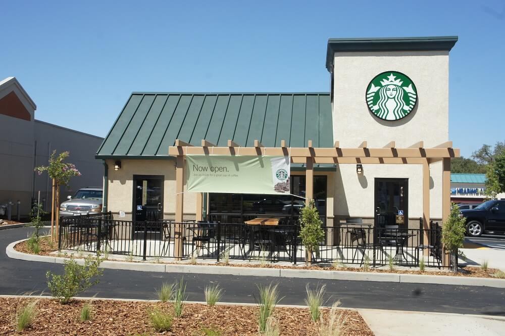 snowy starbucks coffee in california