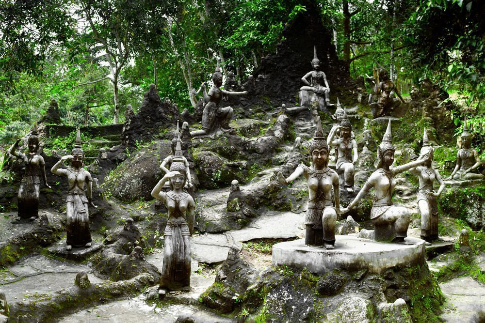 many buddha statue in secret buddha garden
